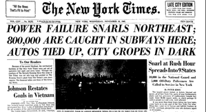 Great Blackout of 1965 headline in the New York Times