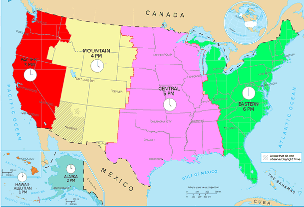 Times Zones in the United States