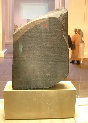 Ancient Egypt - The Rosetta Stone on display at the British Museum.