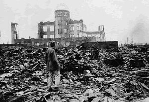 Hiroshima and Nagasaki - aftermath of bombing in Hiroshima