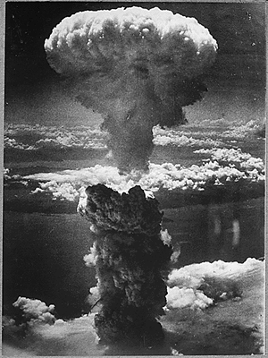 Hiroshima and Nagasaki - Mushroom cloud over Nagasaki on August 9, 1945
