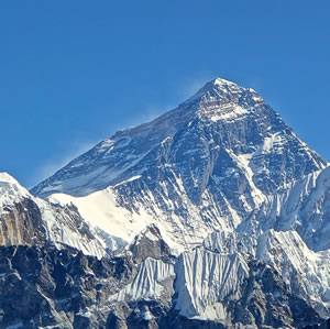 Mount Everest forms the northern border of the Indian subcontinent