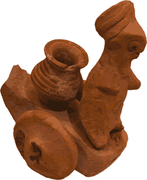 An ancient toy excavated from a site along the banks of the Indus River.