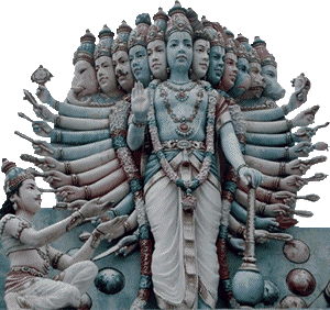 Vishnu is the preserver of the universe who protects us from evil.