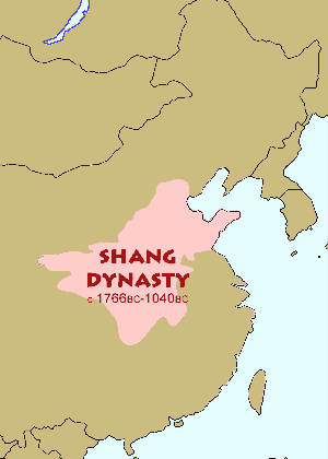 Chinese History:  Map of the dimensions of the Shang Dynasty (c1766BCE - 1040 BCE)