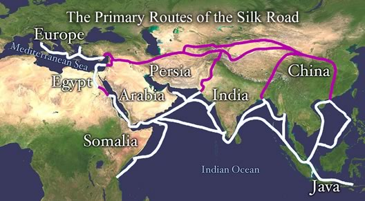 The primary routes of the Silk Road.