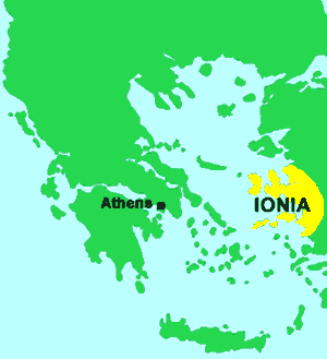 Map of the Greek-speaking region and Ionia