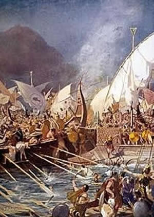 The Greek and the Persians battle at Salamis