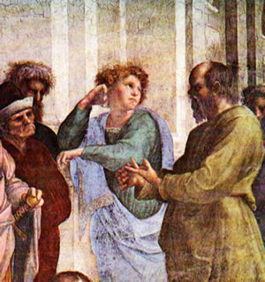 Socrates (left) is depicted in Raphael's The School of Athens (1509).