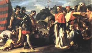 The Middle Ages - the Huns - The Meeting of Pope Leo and Attila by Francesco Solimena