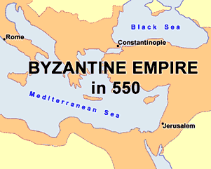 Map of Byzantine Empire in  550