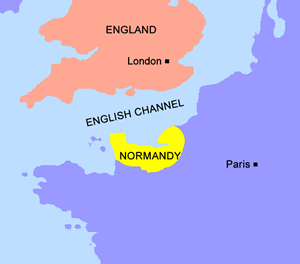 Map of Normandy and England