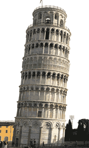 The Leaning Tower of Pisa in northwest Italy is an example of Romanesque architecture.