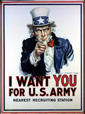 This poster was used to recruit solders in World War I