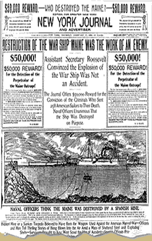 Headline reporting the sinking of the USS Maine.