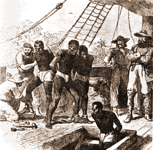 On board a slave slip (illustration)