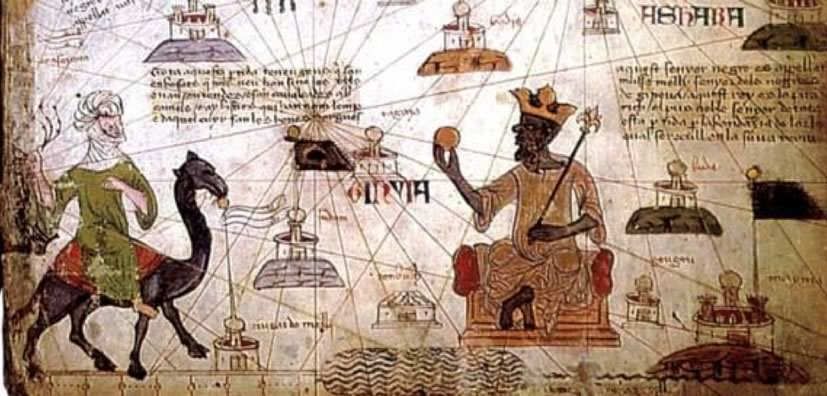 Map including an image of Mansa Musa