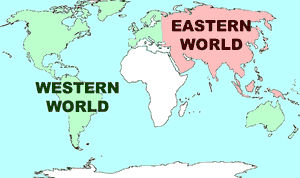 Eastern and Western worlds (map)