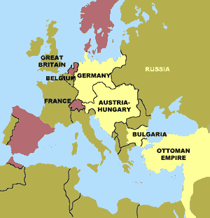 The Central Powers of World War I (map)