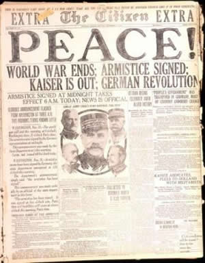 Newspaper reporting the end of the Great War