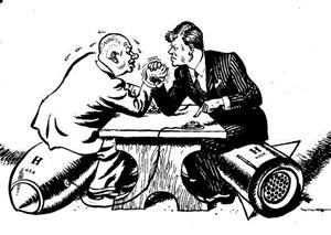 Kennedy and Khrushchev political cartoon