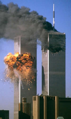Planes crashing nto the World trade Center on September 11, 2001.