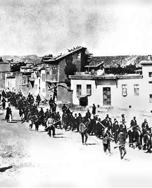 Armenians marched to prison in 1915.