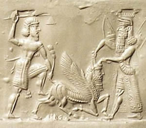 Engraving depicting Gilgamesh and Enkidu