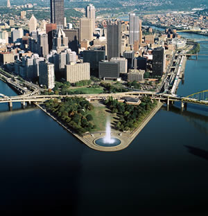 The fountain in Point State Park in Pittsburgh, Pennsylvania