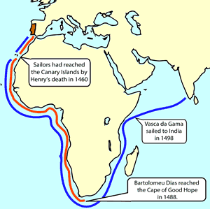 The routes of Bartholomeu Dias and Vasco da Gama.