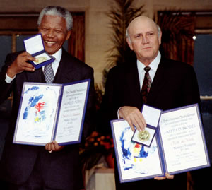 Nelson Mandela accepting the Nobel Peace Price with F.W. deKlerk