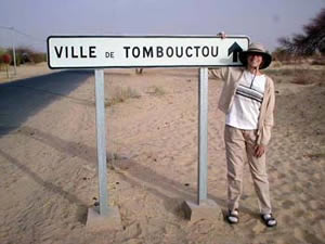 Sign post in modern Timbuktu