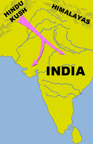 The route of the Aryans