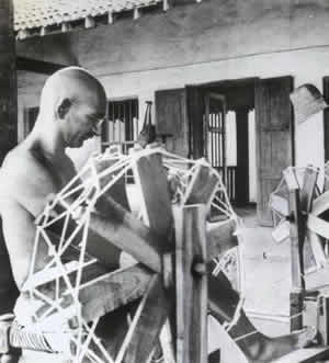 Gandhi with homespun
