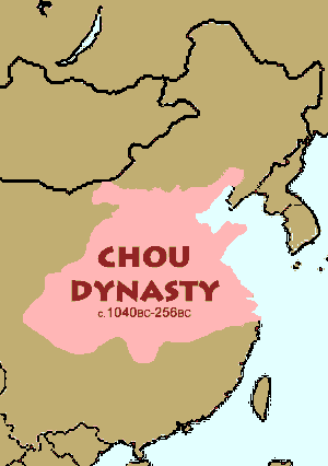Map of the Zhou (also spelled Chou) Dynasty