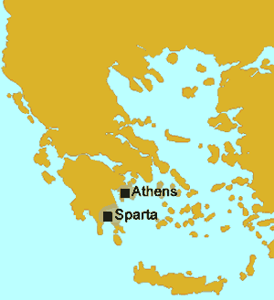 Map of Sparta and Athens