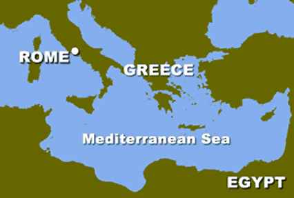 Map of Mediterranean Sea