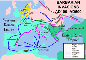 Map of Barbarian invasions during the Middle Ages
