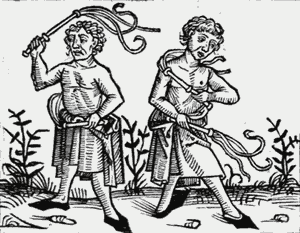 Drawing of Flagellants during the Black Death