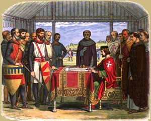 King John I signs the Magna Carta