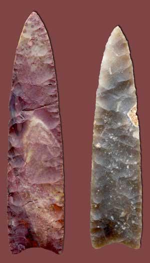 Clovis point arrowheads